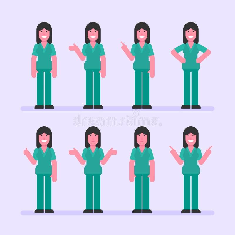 Krankenschwesterfrauenpunkte und -shows Ohne Ineinander greifen lizenzfreie abbildung