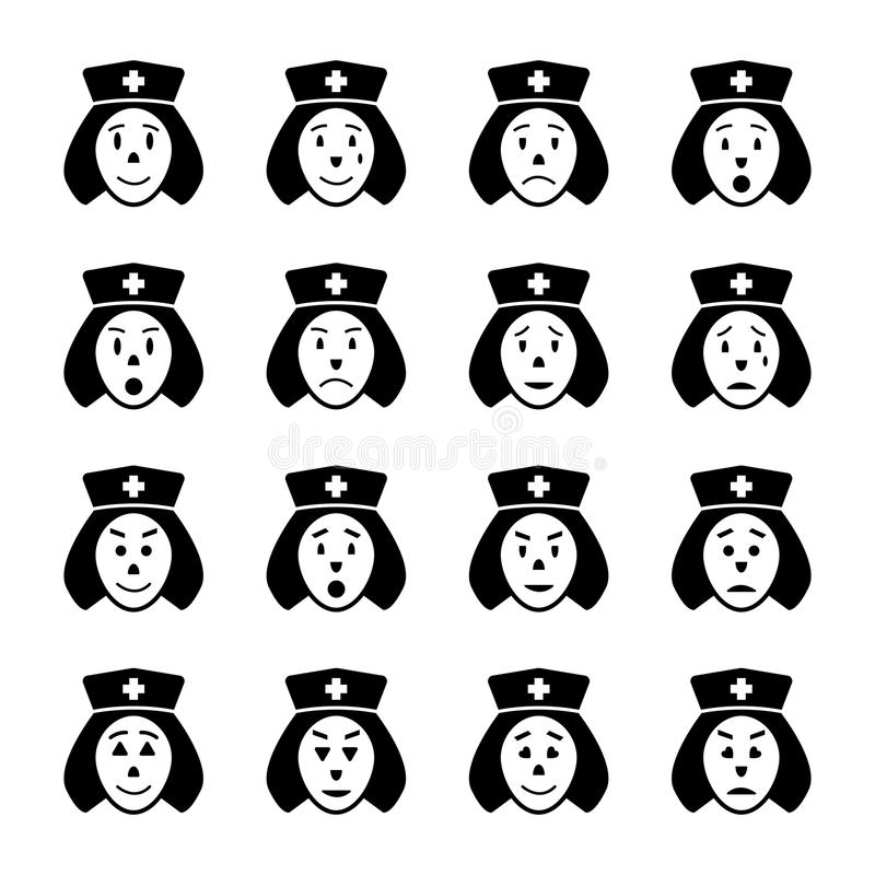 Krankenschwestergesicht Emoticonikonen eingestellt stock abbildung