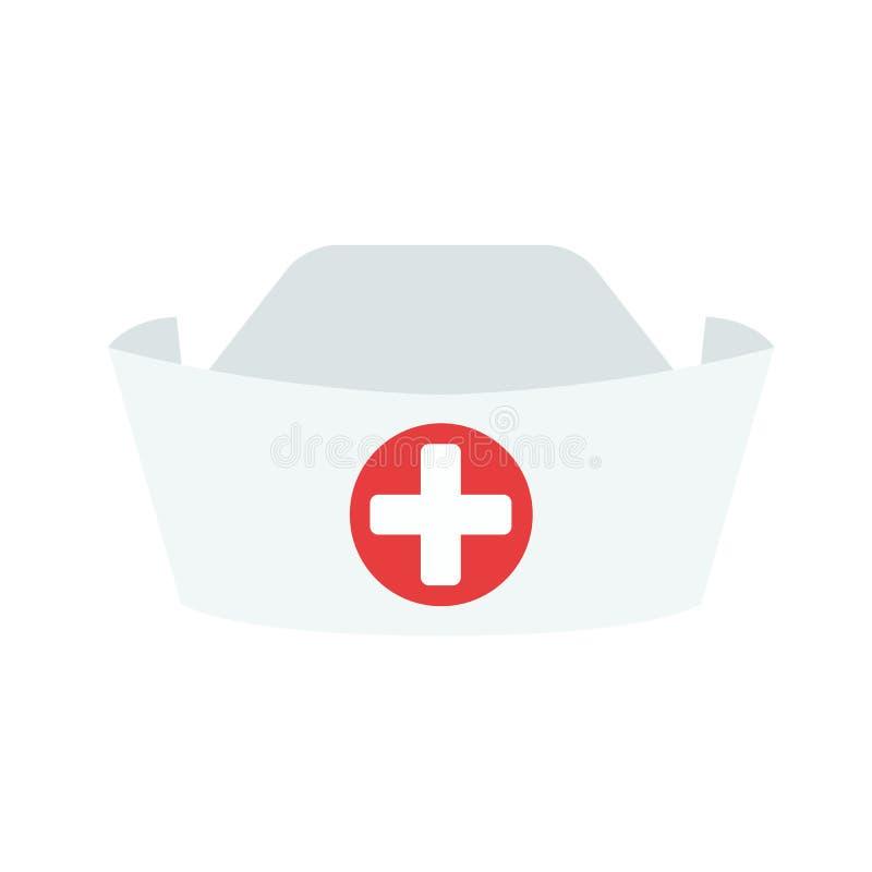 Krankenschwesterhut getrennt auf weißem Hintergrund Krankenschwester Icon stock abbildung