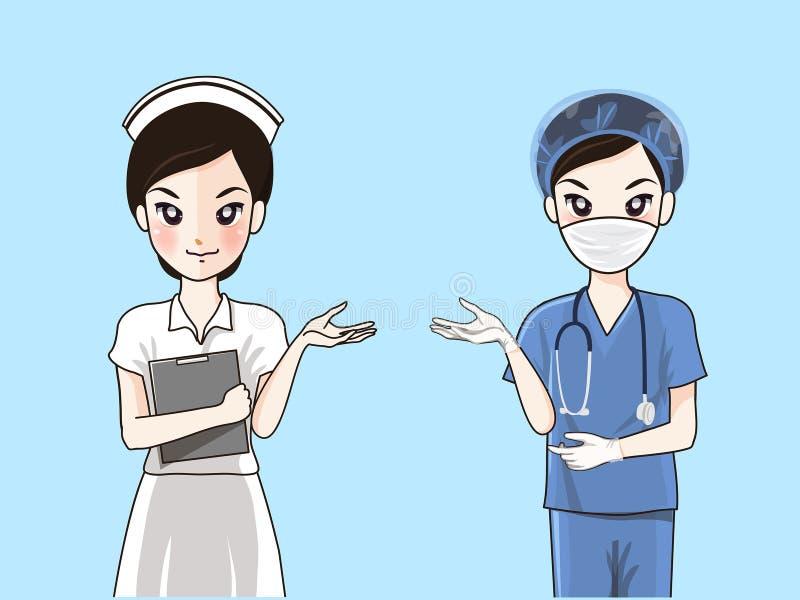 Krankenschwestern in der formalen Uniform und in den chirurgischen Kleidern lizenzfreie abbildung