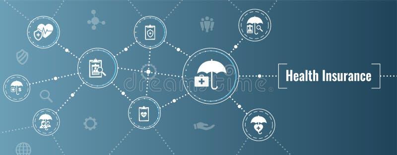 Krankenversicherung Netz-Fahne -- Regenschirmikone eingestellt mit medizinischem IC stock abbildung