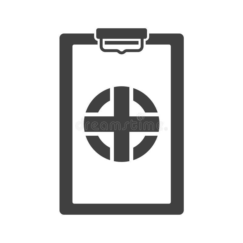 Krankenversicherungs-Dokumentenikone Vektor auf weißem Hintergrund vektor abbildung