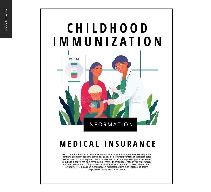 Krankenversicherungsschablone - Kindheitsimmunisierung stock abbildung