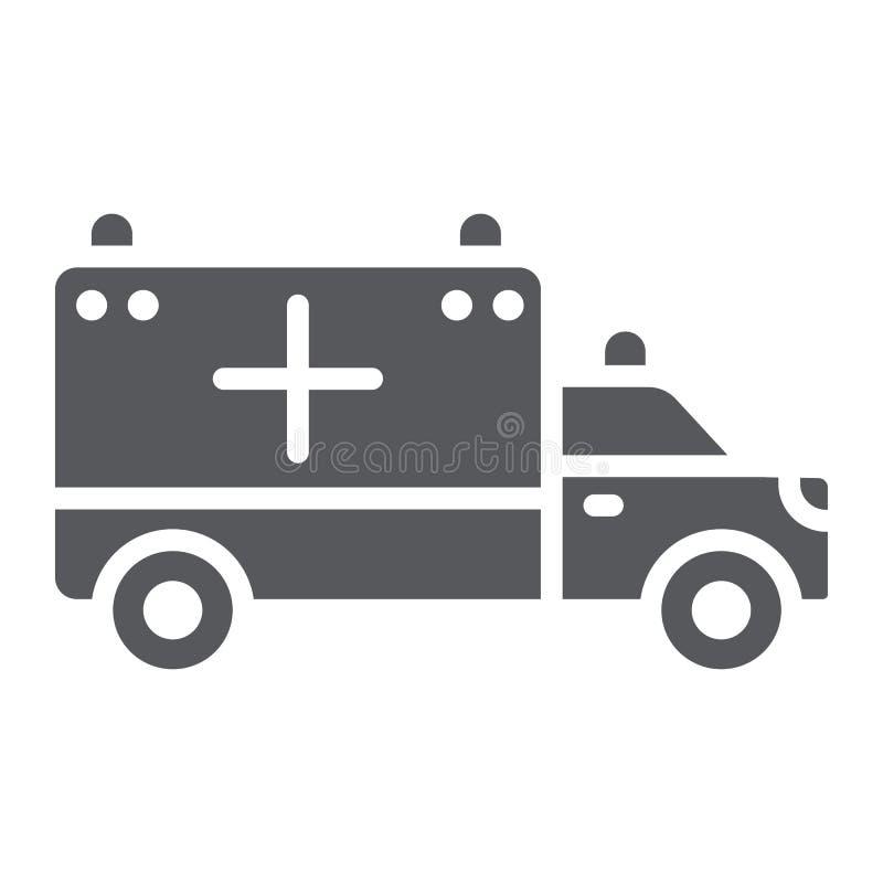 Krankenwagen Glyphikone, Transport und Antrieb, Notautokennzeichen, Vektorgrafik, ein festes Muster auf einem weißen Hintergrund stock abbildung