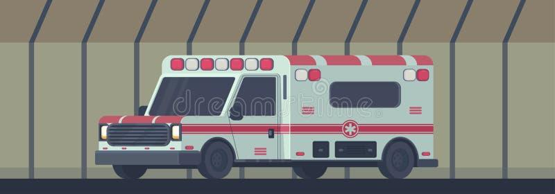 Krankenwagenauto im Transporttunnel Die Maschine für das Gewähren der erster notwendiger Notmedizinischen Unterstützung Vektor lizenzfreie abbildung