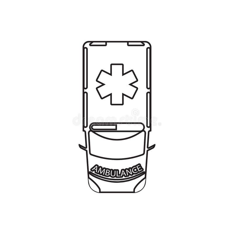 Krankenwagenikone Element der Transportansicht von oben f?r bewegliches Konzept und Netz Appsikone Entwurf, d?nne Linie Ikone f?r lizenzfreie abbildung