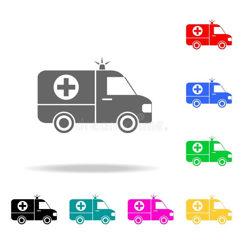 Krankenwagenikone Elemente von multi farbigen Ikonen der Medizin und der Apotheke Erstklassige Qualitätsgrafikdesignikone Einfach stock abbildung