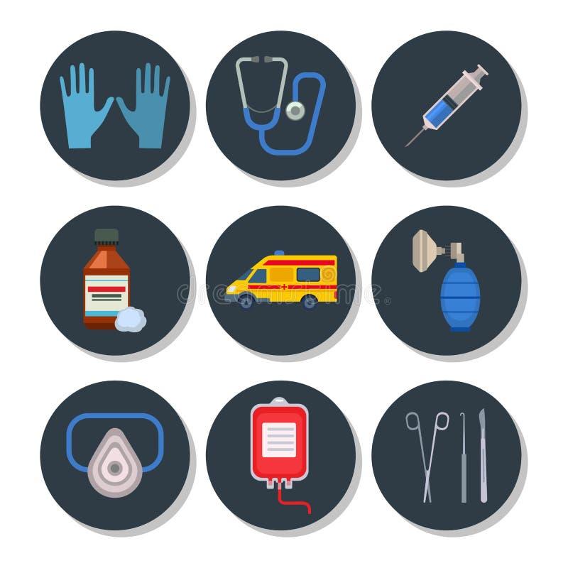 Krankenwagenikonen vector Medizingesundheitsnotkrankenhaus-Symbolillustration lizenzfreie abbildung