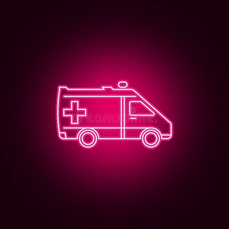 Krankenwagenneonikone Elemente des Transportsatzes Einfache Ikone f?r Website, Webdesign, mobiler App, Informationsgraphiken lizenzfreie abbildung
