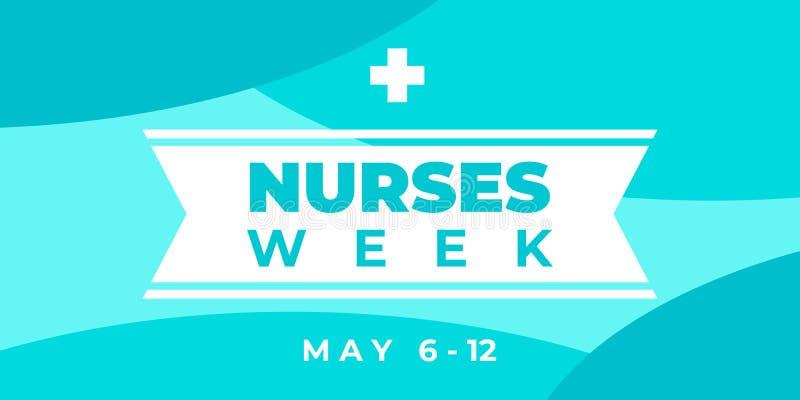 Krankenwoche Vector horizontale Banner für soziale Medien, Insta Der Tag der nationalen Krankenschwestern wird vom 6. bis 12. Mai vektor abbildung