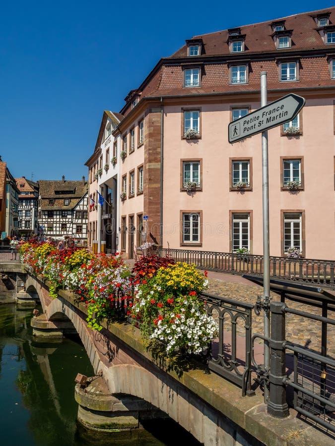 Kranker Fluss in Petite France, Straßburg stockfotografie