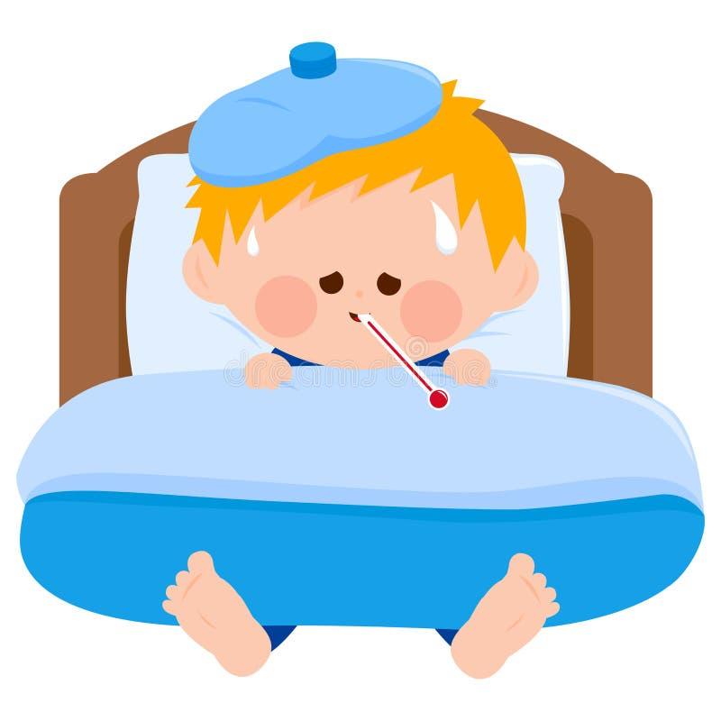 Kranker Junge im Bett lizenzfreie abbildung