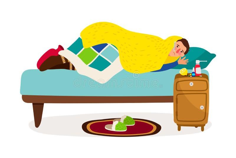 Kranker Mann im Bett Kranker Charakter des kalten Fiebers des Vektors mit Krankheitsinfektionskrankheit, Grippeperson zu Hause mi lizenzfreie abbildung