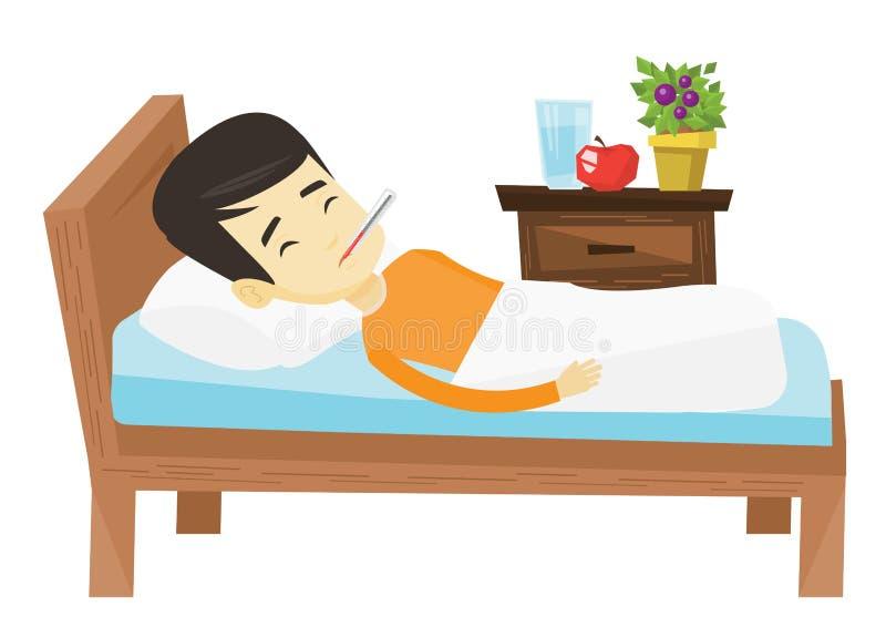 Kranker Mann mit dem Thermometer, der in Bett legt stock abbildung