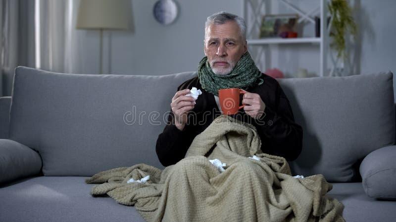 Kranker Pensionär, der das Heißgetränk, Grippe behandelnd, Epidemie niest und hält lizenzfreie stockfotografie