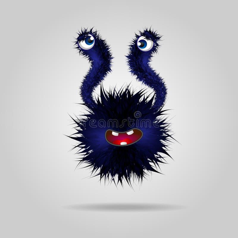 Krankes lustiges flaumiges Monster Nettes schwarzes Monster oder Ausländer stock abbildung