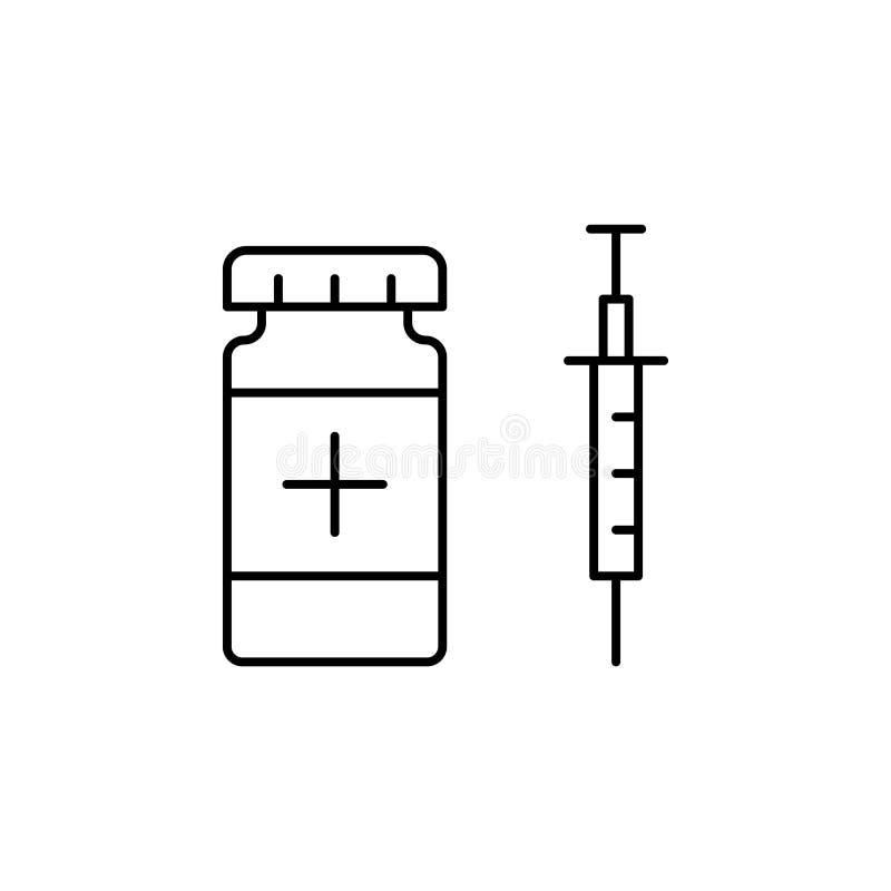Krankheiten, Spritze, Medizin Muskelkater, Kälte und Bronchitis, Pneumonie und Fieber, medizinische Illustration der Gesundheit - lizenzfreie abbildung