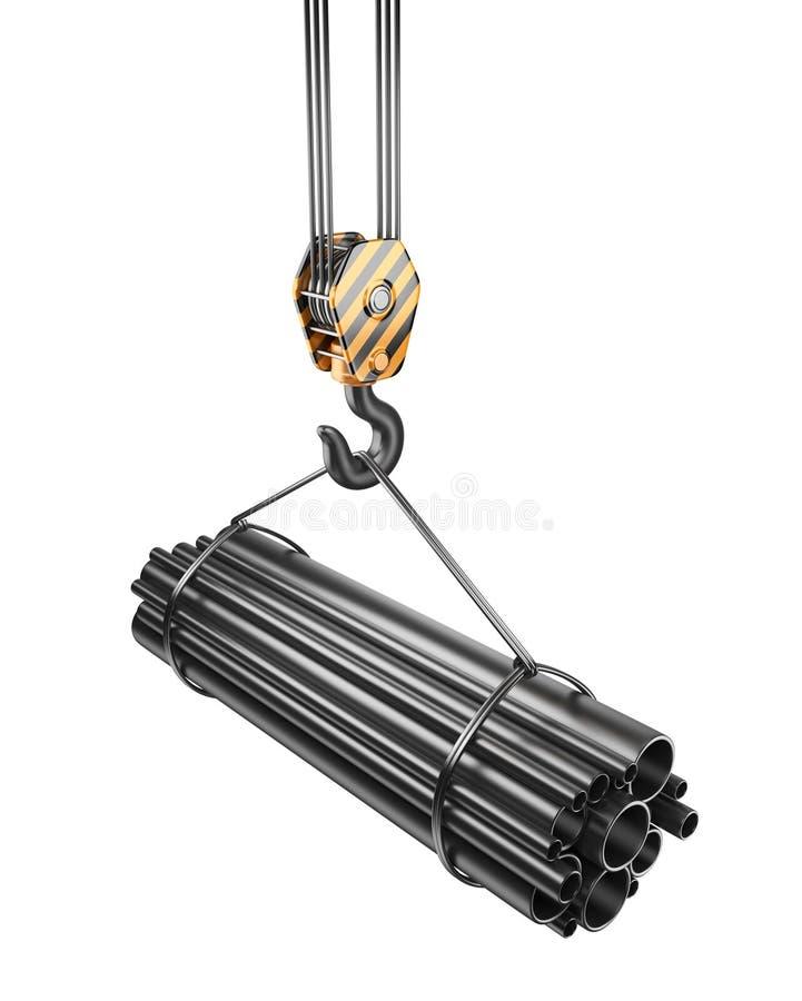 Krankrok med stålrör 3D. Isolerat royaltyfri illustrationer