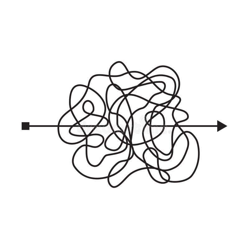 Krankzinnige slordige lijn, ingewikkelde clew manier Verwarde gekrabbelweg Chaotische moeilijke proces Vector illustratie royalty-vrije illustratie