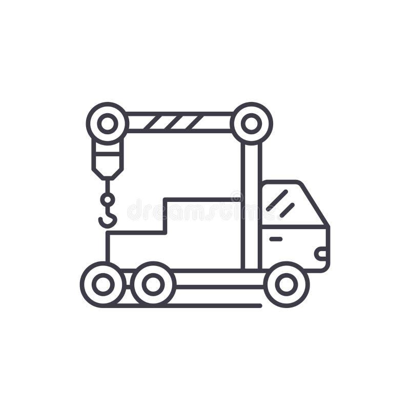 Kranmaskinlinje symbolsbegrepp Linjär illustration för kranmaskinvektor, symbol, tecken stock illustrationer