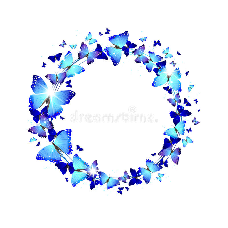 Krans av blåa fjärilar stock illustrationer