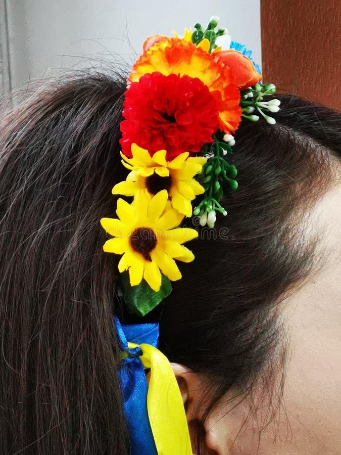 Krans av blommor p? huvudet av en flicka royaltyfria bilder