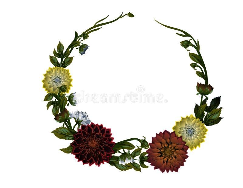 Krans av dahlior den blom- ramen inramniner serie Vektorvattenfärgbakgrund royaltyfri illustrationer