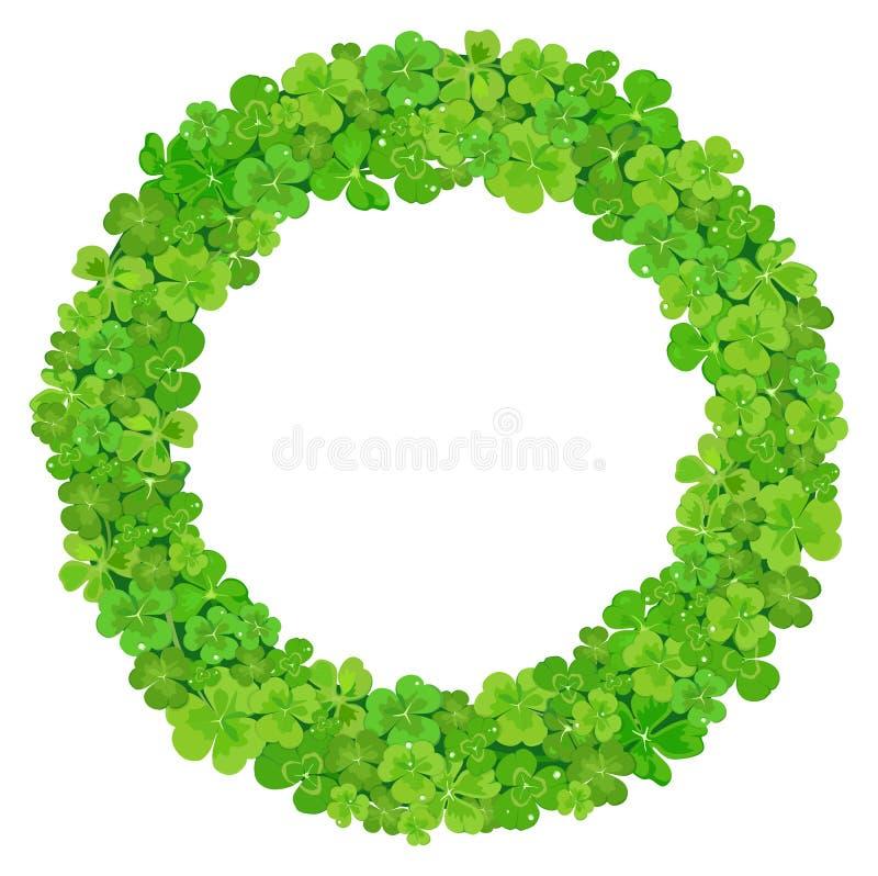 Krans av gröna sidor av växt av släktet Trifolium också vektor för coreldrawillustration royaltyfri illustrationer