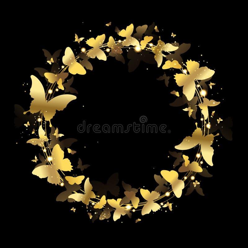Krans av guld- fjärilar vektor illustrationer
