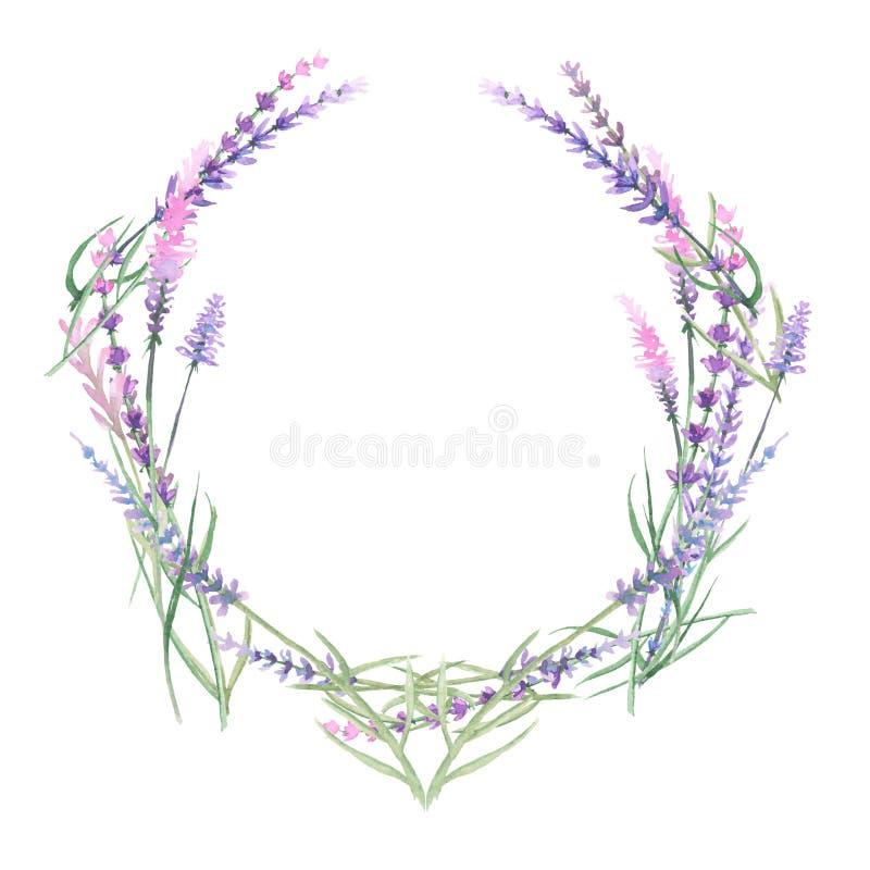 Krans av lavendel stock illustrationer
