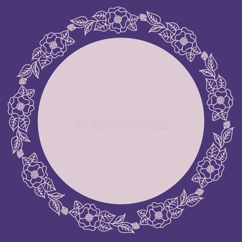 Krans av rosa blommor på en purpurfärgad bakgrund Rund ram för etiketten vektor illustrationer