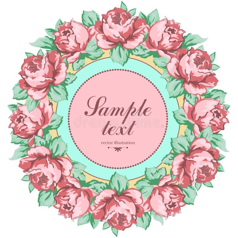 Krans av rosblomman, blom- bakgrund för vektor, rund blommaram, gräns Utdragen blomma för knopprosa färgros och sidahand royaltyfri illustrationer