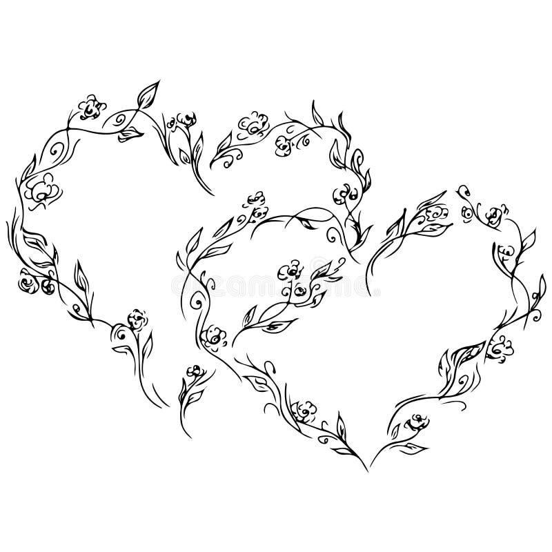 Krans av två svarta hjärtor av rosor eller pioner som isoleras av vit bakgrund r royaltyfri illustrationer