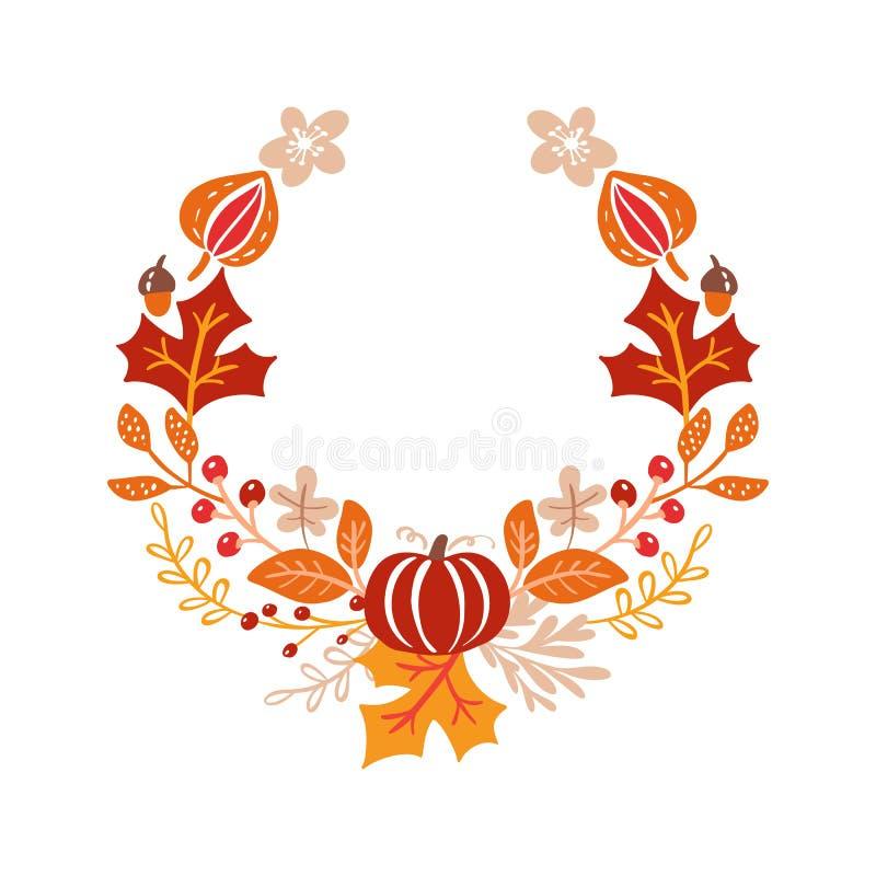 Krans för bukett för vektorramhöst orange sidor, bär som isoleras på vit bakgrund Göra perfekt för säsongsbetonade ferier stock illustrationer