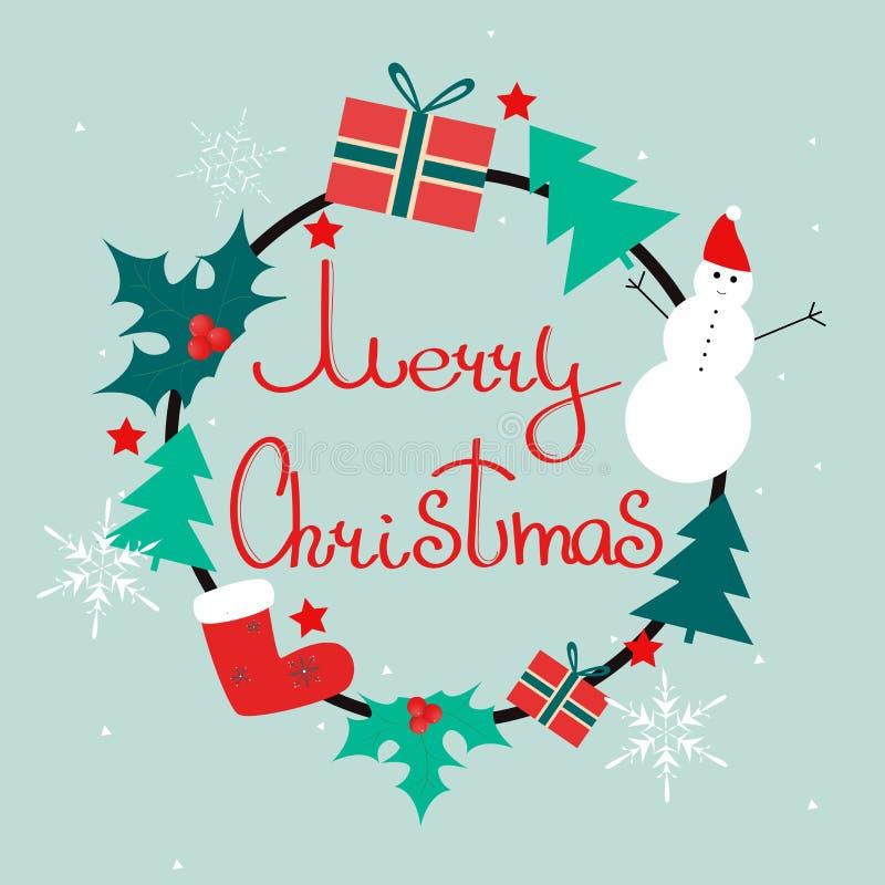 Krans för glad jul med järnek, gåvor, snögubbe; julträd, snöflinga vektor illustrationer
