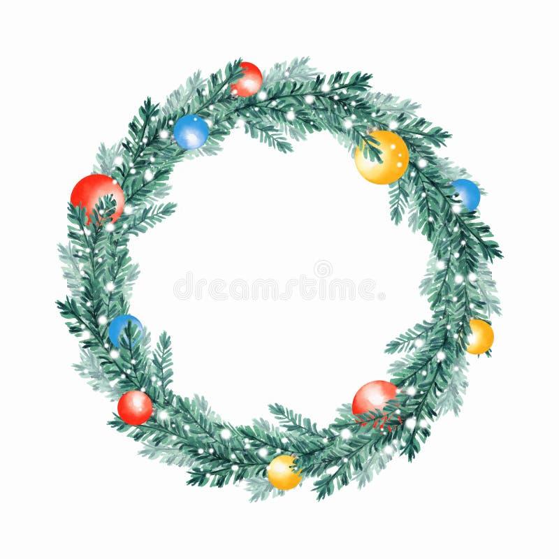 Krans 8 för julgranträd royaltyfri illustrationer
