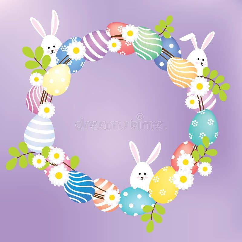 Krans för påskägg och kanin stock illustrationer