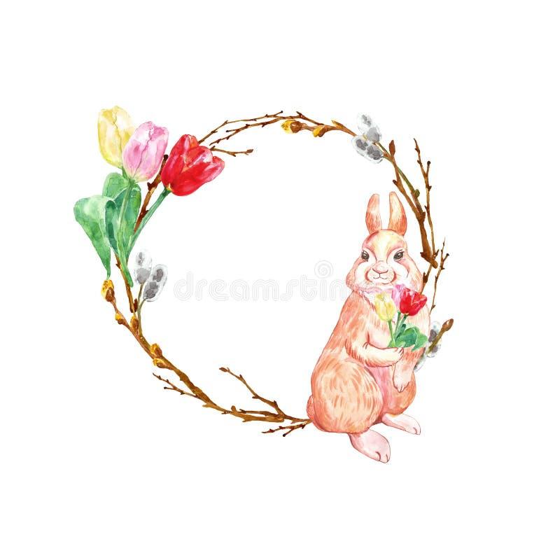 Krans för vattenfärgvårferie för påsk med gullig kanin, trädfilialer och färgrika tulpanblommor som isoleras stock illustrationer