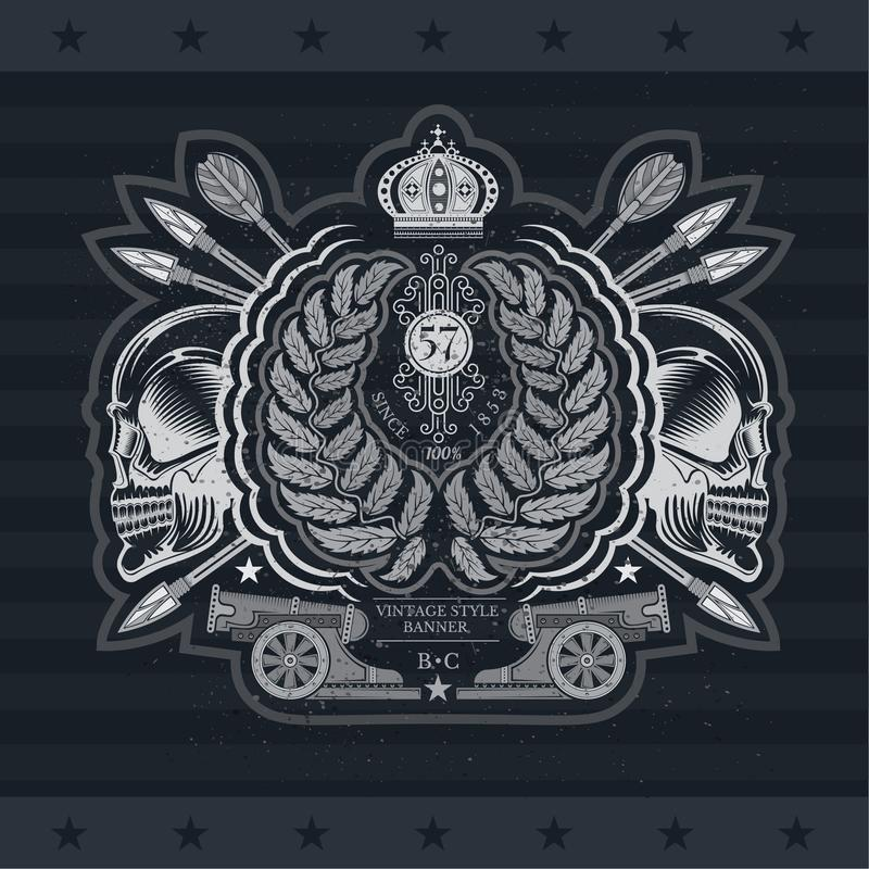 Krans med arga pilar mellan profilskallar och kanonen Heraldisk tappningetikett på svart stock illustrationer