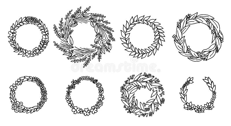 Krans med blommor vektor för set för tecknad filmhjärtor polar Gullig blom- samling, hand dragen vattenfärg bröllop- eller hälsni stock illustrationer