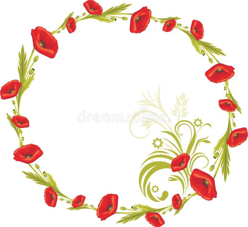 Krans med röda vallmo royaltyfri illustrationer