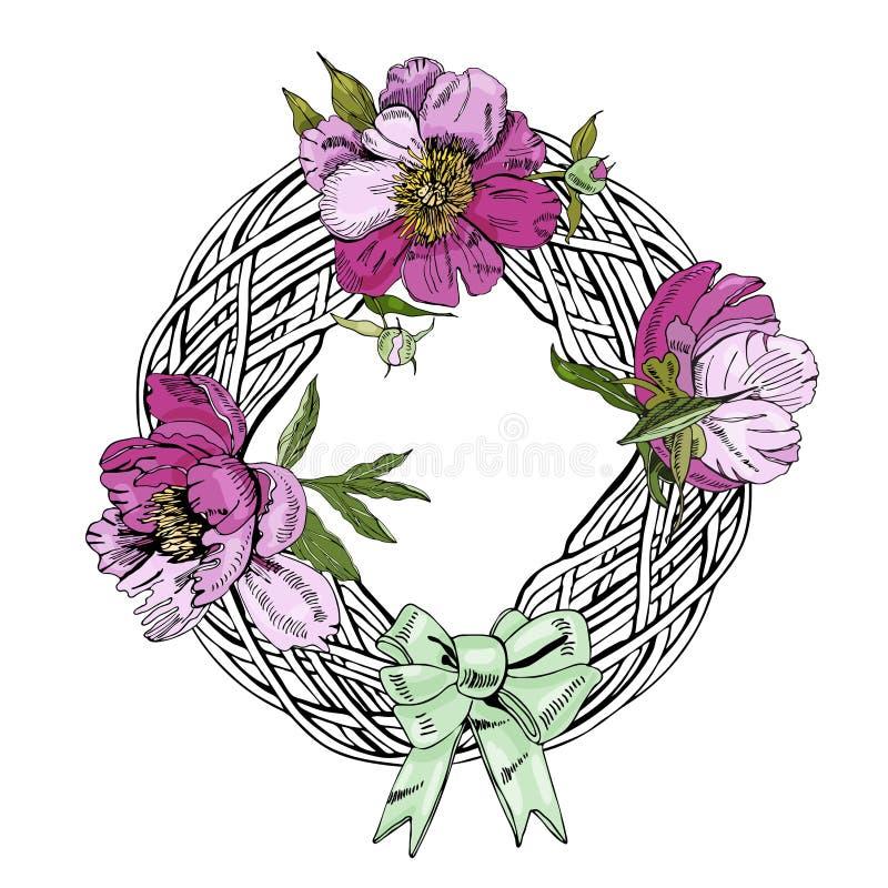 Krans med rosa blommor av pionen och pilbågen Handen dragit f?rgpulver skissar Färgobjekt som isoleras på vit bakgrund stock illustrationer