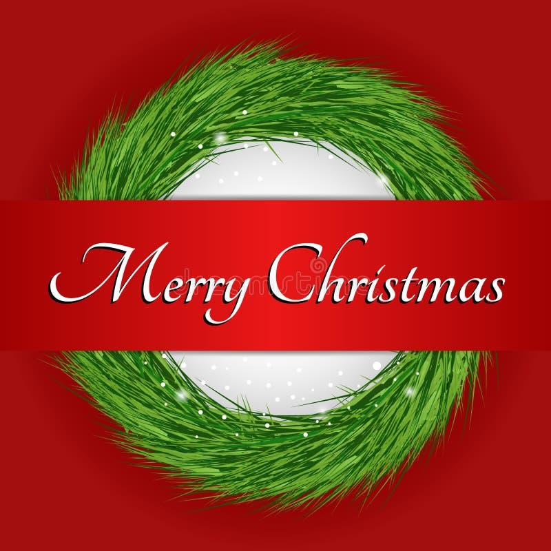 Krans med text för glad jul arkivbild