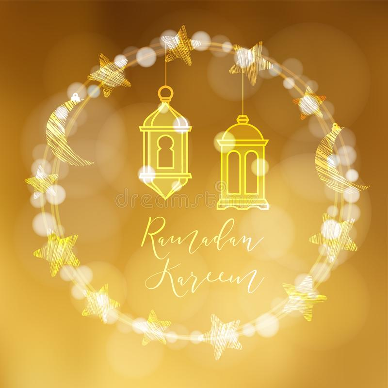 Kransen av bokehljus dekorerade av månen, stjärnor och hängande arabiska lyktor Festlig garnering, vektorillustration royaltyfri illustrationer