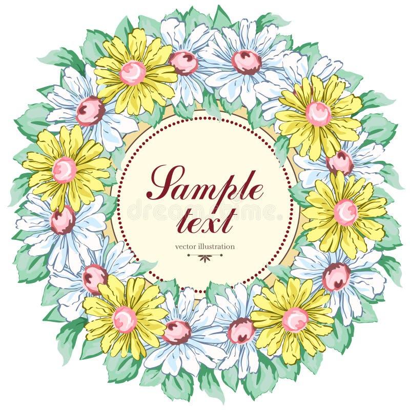 Kransen av kamomillen blommar, blom- bakgrund för vektorn, rundablommaramen, gräns Gul och vit kamomill för utdragen knopp royaltyfri illustrationer