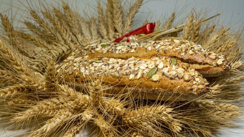 Kransen göras från vete gå i ax i den bakade nytt två loaves av bröd med korn, solrosen, pumpa, havremjöl royaltyfri foto