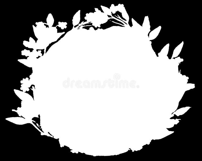 Kransen inspirerade den dekorativa svarta & vita fotoramen Typtext inom, använder som samkopieringen eller för maskering för lage stock illustrationer