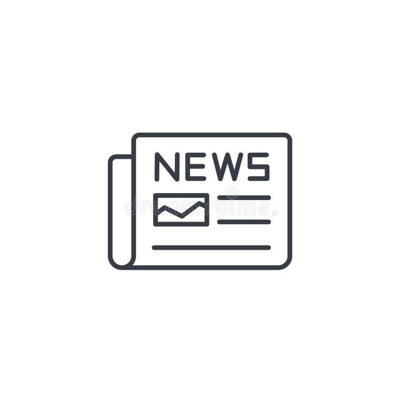 Krant, dagelijkse pers, nieuwsinhoud, pictogram van de artikel het dunne lijn Lineair vectorsymbool stock illustratie
