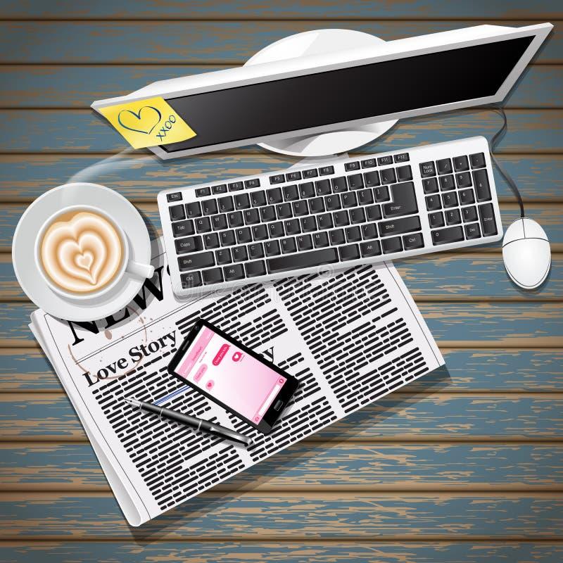Krant en mobiele telefoon met koffie en computer royalty-vrije illustratie