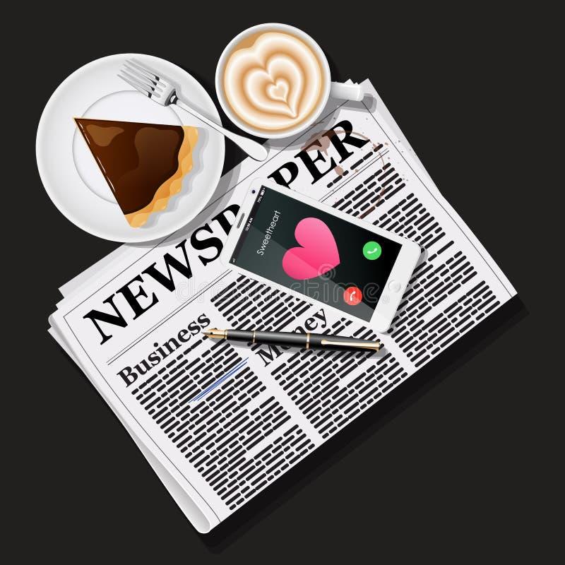 Krant en mobiele telefoon met lattekunst en pastei vector illustratie